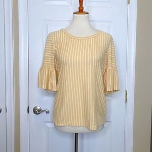 W5 Top Yellow White Striped Crewneck Bell Sleeve